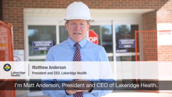 Matt Anderson re: Construction at Port Perry Hospital