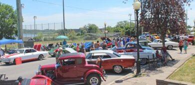 Vintage cars at car rally